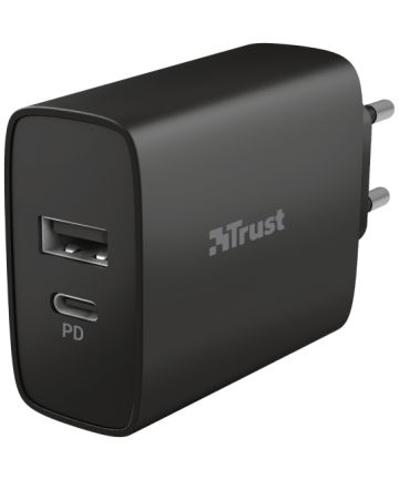 Trust Qmax Snellader 30W USB + USB-C Oplader met Power Delivery Zwart Opladers