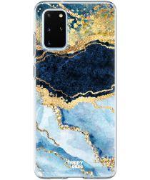 HappyCase Galaxy S20 FE Hoesje Flexibel TPU Blauw Marmer Print
