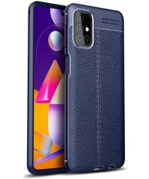Samsung Galaxy M31s Litchi Hoesje TPU met Leren Textuur Blauw