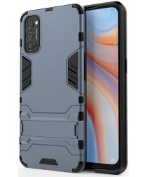 Oppo Reno 4 5G Hoesje Shock Proof Back Cover Met Kickstand Blauw