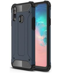 Samsung Galaxy A20s Hoesje Shock Proof Hybride Back Cover Donker Blauw