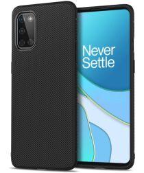 OnePlus 8T Hoesje Twill Slim Texture Back Cover Zwart