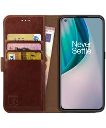 Rosso Element OnePlus Nord N10 Hoesje Book Cover Wallet Case Bruin
