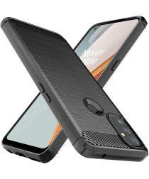 OnePlus Nord N100 Hoesje Geborsteld TPU Flexibele Back Cover Zwart