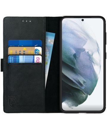 Rosso Deluxe Samsung Galaxy S21 Hoesje Wallet Case Echt Leer Zwart Hoesjes
