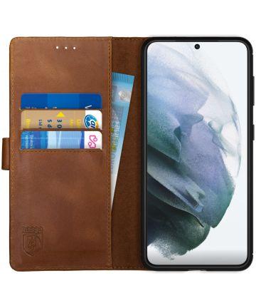Rosso Deluxe Samsung Galaxy S21 Hoesje Wallet Case Echt Leer Bruin Hoesjes
