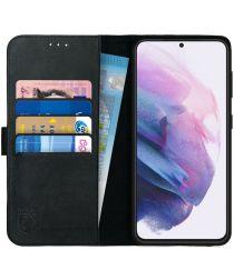 Rosso Deluxe Samsung Galaxy S21 Plus Hoesje Wallet Case Leer Zwart