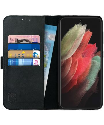 Rosso Deluxe Samsung Galaxy S21 Ultra Hoesje Wallet Case Leer Zwart Hoesjes
