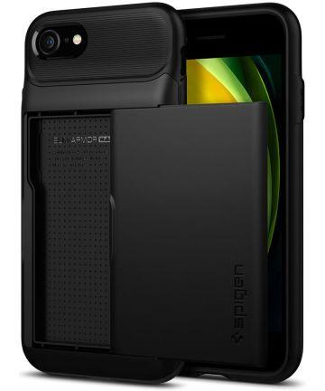 Spigen Slim Armor Wallet Apple iPhone SE(2020) / 8 / 7 Hoesje Zwart Hoesjes