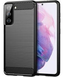 Samsung Galaxy S21 Hoesje Geborsteld TPU Flexibele Back Cover Zwart