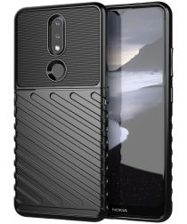 Nokia 2.4 Hoesje Twill Slim Textuur Back Cover Zwart