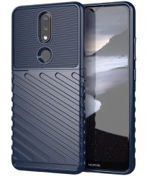 Nokia 2.4 Hoesje Twill Slim Textuur Back Cover Blauw