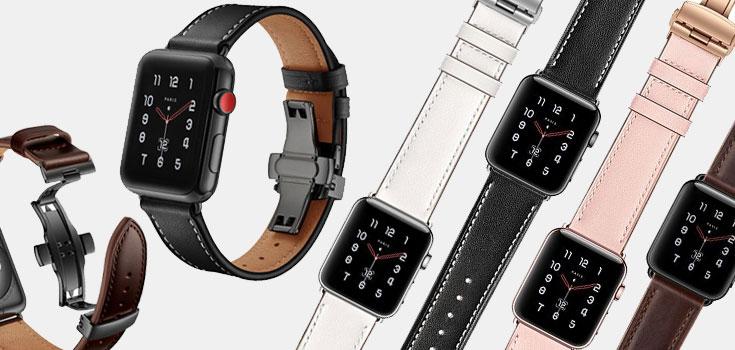 Apple Watch Bandje Echt Leer met RVS Vlindersluiting